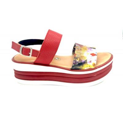 Sandalo con Zeppa Rigata e...